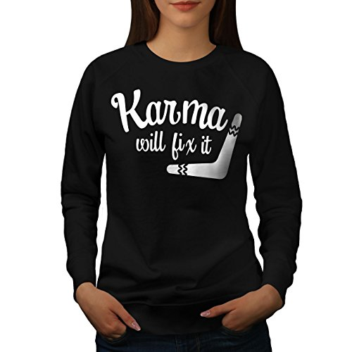 wellcoda Karma Wille Fix Es Frau Sweatshirt Lustig Lässiger Pullover