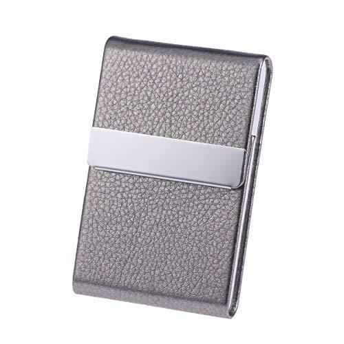 Toyvian - Tarjetero de gran capacidad, sección vertical, monedero para tarjetas de crédito, unisex, tarjeta de visita, cartera de metal y piel, caja de acero sólido (gris)