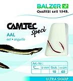 Balzer Camtec Aalhaken 60cm rot - 10 gebundene Angelhaken zum Aalangeln, Haken für Aale, Einzelhaken, Wurmhaken, Raubfischhaken, Hakengröße/Schnurdurchmesser:Gr. 4 / 0.30mm