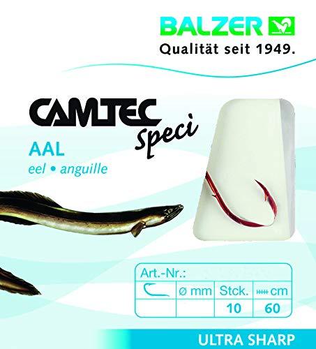 Balzer Camtec Aalhaken 60cm rot - 10 gebundene Angelhaken zum Aalangeln, Haken für Aale, Einzelhaken, Wurmhaken, Raubfischhaken, Hakengröße/Schnurdurchmesser:Gr. 2 / 0.35mm