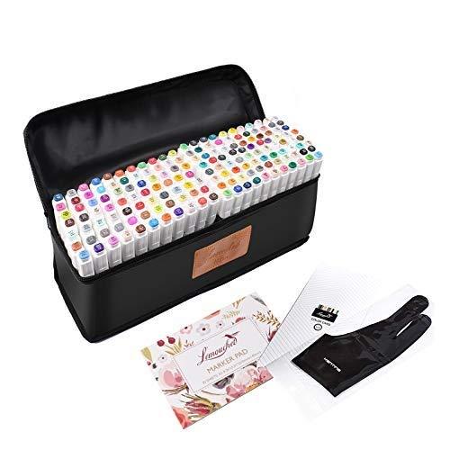 L'émouchet - Juego de 168 rotuladores de doble punta, con estuche de transporte para colorear y pintar sobre la piel, diseño de manga y manga, 168 colores