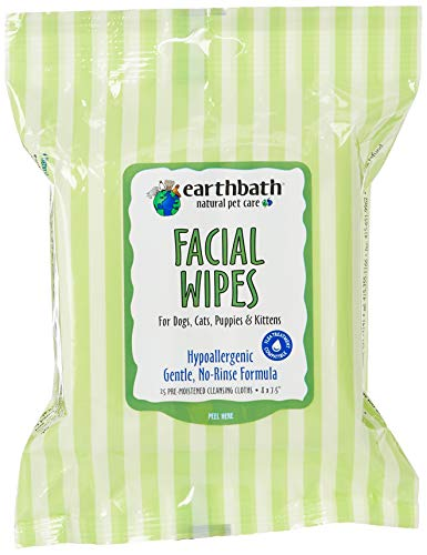 EARTHBATH 026361 25 Count Facial Wipes Pouch for Dogs, Cats, Puppies and Kittens