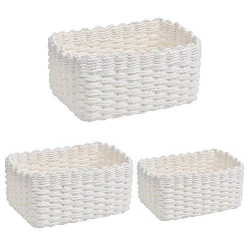 DODUOS 3 Stück Aufbewahrungskorb aus Recycling-Papier-Seil 3 Größen Aufbewahrung Körbe geflochten Regalkörbe Organizer für Schränke, Bad, Küche, Schlafzimmer (Weiß)