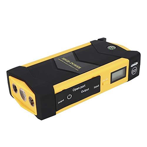 Akozon Arrancador de coche 600 amperios 12 V Batería de coche de emergencia Arrancador automotriz Cargador del dispositivo de arranque del banco de energía 20000 mAh(EU Plug)
