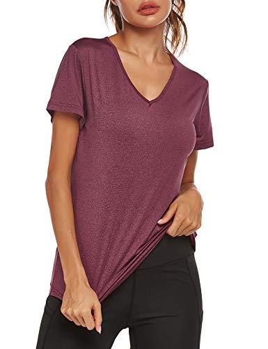 Parabler Damen atmungsaktive Funktionelle Sport Training Fitness T-Shirt Kurzarm V-Ausschnitt Laufhemd Yoga Top Loose Fit Laufshirt für Frauen