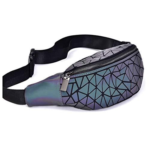 XZJJZ Diseño Especial Luminoso Creativo de rombo geométrica Pecho Bolsa Bolso de la Cintura del Bolso de Hombro
