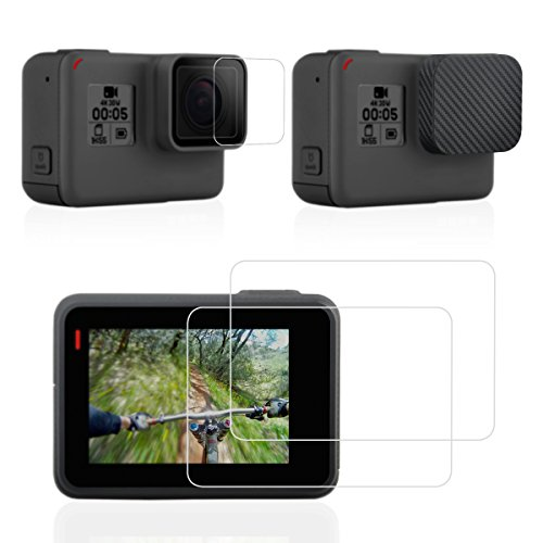Sametop Screen Protector Compatible with GoPro Hero 7 Black, Hero (2018), 6, 5 Cameras with Lens Cap Cover and Tempered Glass Film Accessory