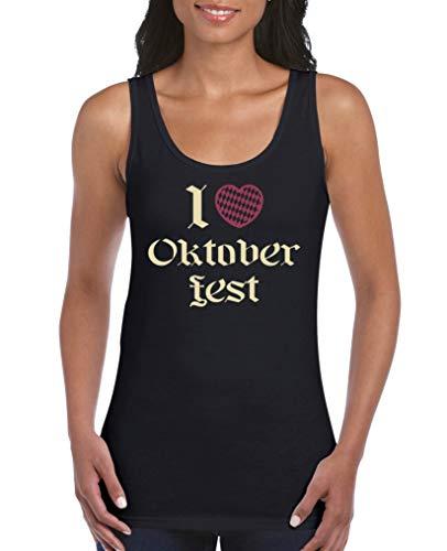 Comedy Shirts - I Love Oktoberfest - Damen Tank Top - Schwarz/Beige-Fuchsia Gr. M