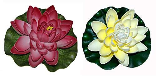 warenplus2014 2 x Aquarium Seerosen Aquarien Seerose künstliche Pflanzen Aquarium Deko Kunstblumen Teichrose Dekoseerose