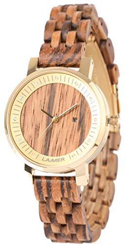 LAiMER 0066 - JENNI, Orologio analogico da polso al quarzo, con cristalli Swarovski, cassa in acciaio premium e cinturino in legno Zebrano, donna