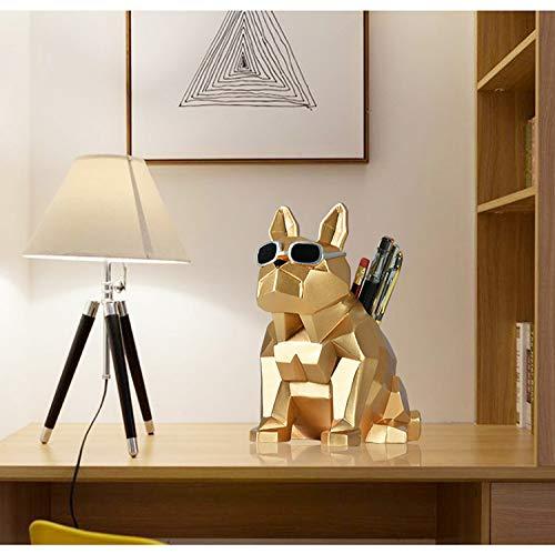 LCDIEB Sculpture French Bulldog Pencil Vase Figurine Dog Animal Pen Holder Statues Art Sculpture Resin Crafts Home Desktop Decoration Office,Gold