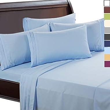 EASELAND 6-Pieces 1800 Thread Count Microfiber Bed Sheet Set-Wrinkle & Fade Resistant,Deep Pocket,Hypoallergenic Bedding Set,King,Blue
