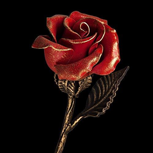 Handgeschmiedetes rotes Ewige Eisen Rose - Romantisches Geschenk