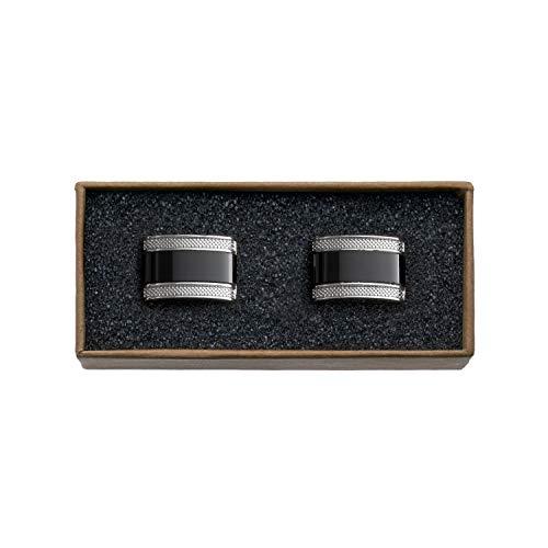 VALDERO® Herren Manschettenknöpfe - Men's Essentials in Box (Blau Perlmutt Schwarz) (1 Paar - Silbernes Metall, Schwarzer Stein)