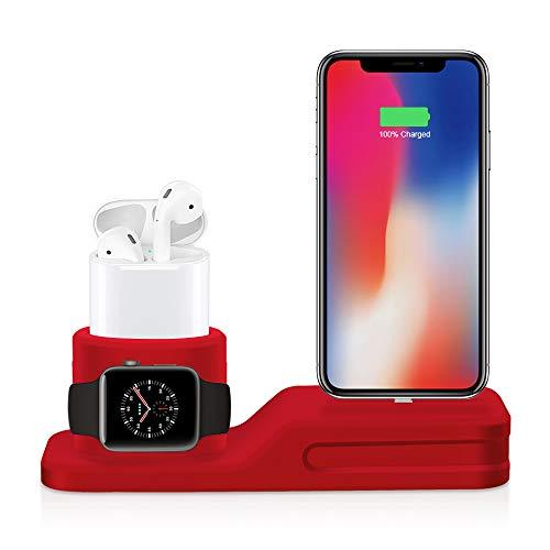 HYF - Soporte de carga para teléfono móvil, 3 en 1, soporte de silicona premium compatible con Airpods, Apple Watch y iPhone