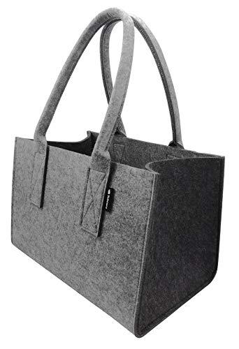 Shopper Filztasche Premium 5mm, große Einkaufs-Tasche mit Henkel, Einkaufskorb, faltbare Kaminholztasche zur Aufbewahrung von Holz, Tragetasche auch zur Spielzeug Aufbewahrung, Hell-/Dunkelgrau