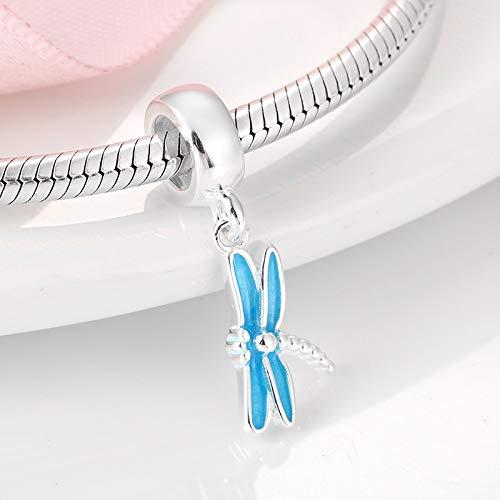 CH&NH Branelli di Fascino della Libellula dello Smalto Blu dell'argento sterlina Misura Il Braccialetto Originale per la Fabbricazione di Gioielli Fai-da-Te delle Donne