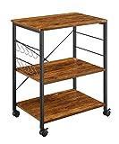 Mr IRONSTONE 3-Tier Kitchen Baker's Rack Utility Microwave Oven Stand Storage Cart Workstation Shelf (Dark Brown)