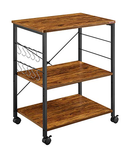 Mr IRONSTONE Kitchen Microwave Cart 3-Tier Kitchen Utility Cart Vintage Rolling Bakers Rack with 10 Hooks for Living Room Decoration