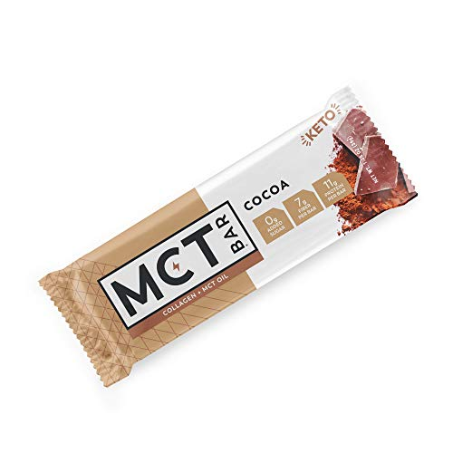 MCTBar Keto Protein Snack Bar, Cocoa (12 Pack) - Free of Gluten, Dairy, Soy & GMOs | 0g Added Sugar, Low Carb | Organic MCT Oil, Collagen, Fiber, Natural Monk Fruit