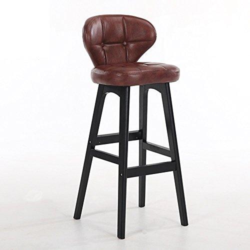 LightSeiEU/Tabouret haut simple moderne, chaise de barre arrière, tabouret de bar de caissier à la maison, tabouret haut de réception, chaises de barre en bois plein (Couleur : Marron)