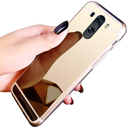 JAWSEU Compatible avec LG G3 Coque Miroir Silicone,Cristal Brillant Bling Glitter Miroir Housse de Protection Slim Souple Gel Paillettes Strass Case Femme Fille,Or