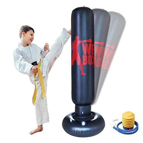 63inchInflatable Punching BagHeavy Duty Freestanding Punching Bag for Boxing Practicing Karate TrainingBoxing Punching Training Bag for Kids Adults