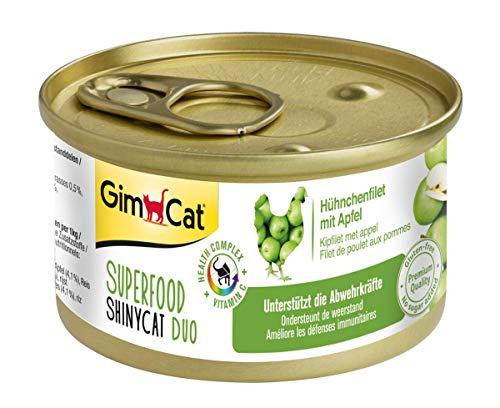 GimCat Superfood ShinyCat Duo Hühnchen mit Apfel - Katzenfutter mit saftigem Filet ohne Zuckerzusatz für ausgewachsene Katzen - 24 Dosen (24 x 70 g)