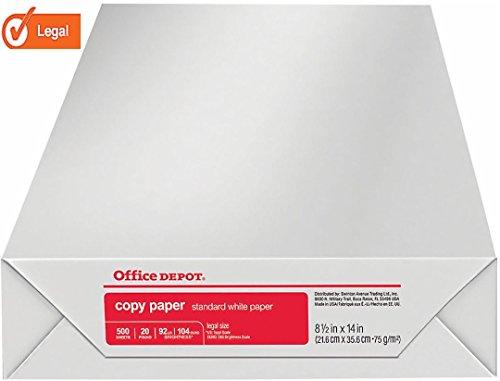 Office Depot 317339 papel para impresora láser de inyección de tinta, tamaño legal, 8 1/2 x 14...