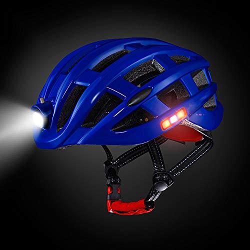 DYOYO Casco de Ciclismo para Adultos con Luz USB Recargable,Casco de Bicicleta Ligero de luz Trasera para Hombres y Mujeres Adultos,Casco Montaña Road Motocicleta Bicicleta(48-61cm)