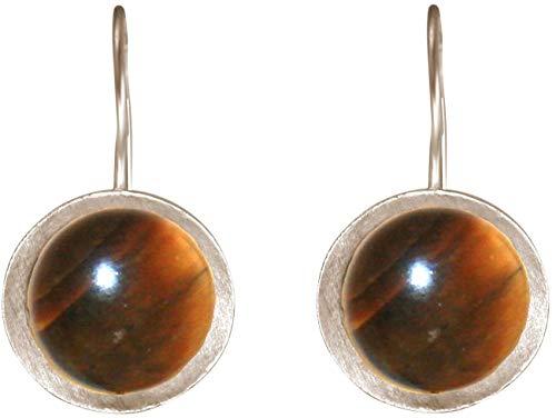 Gemshine Ohrringe mit Tigeraugen. Ohrhänger aus 925 Silber oder vergoldet. Nachhaltiger, qualitätsvoller Schmuck Made in Spain, Metall Farbe:Silber