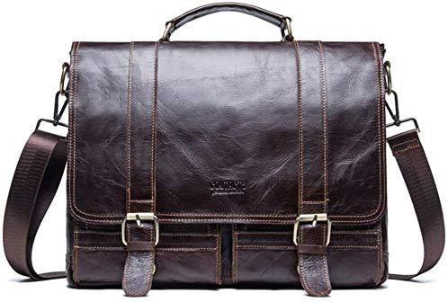 LL-SUNGIRL Women Men's Briefcase Messenger Bag Vintage Leather Crossbody Shoulder Satchel Bags 14' Laptop Handbag Brown