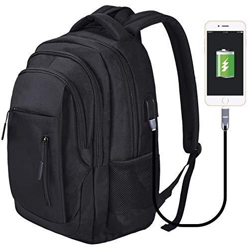 flintronic Travel Laptop Backpack, Work Bag Lightweight Laptop Bag with USB Charging&Headphone Port, Water Resistant Anti Theft Business Backpack for Men and Women, Fits 15.6 Inch Laptop