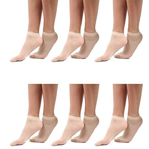 Pop sokken voor vrouwen, vrouwen enkel sokken, lichtgewicht sokken, zwart en huid kleur sokken, ademende kwaliteit UK maat 4-6.5, pak van 3/6 paar