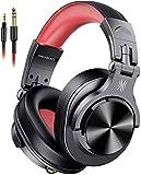 CRFYJ - Cuffie da DJ con cavo per monitoraggio e miscelazione, cuffie professionali con suono stereo basso per PC/TV, colore: Rosso
