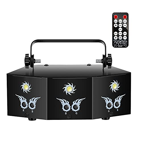 U`King Party Lights DJ Disco Light with 9 Lens RGB Strobe Lighting Effect LED Projector by Sound Activated and Remote Control for Laser Light Show Stage Birthday Parties Wedding Bar