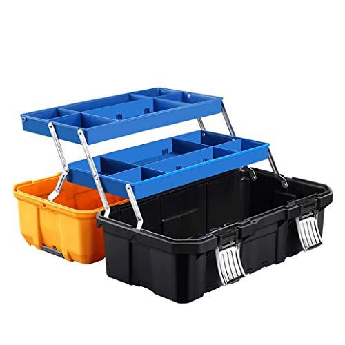 Caja de herramientas Caja de herramientas plegable de tres capas for la herramienta o embarcaciones de almacenamiento, hardware de almacenamiento caja de accesorios que traba la tapa y Almacenamiento