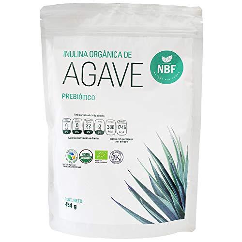 NBF Inulina de Agave Organico En Polvo 454gr Prebiotico de Fibra Sin Gluten Apoyo Digestivo