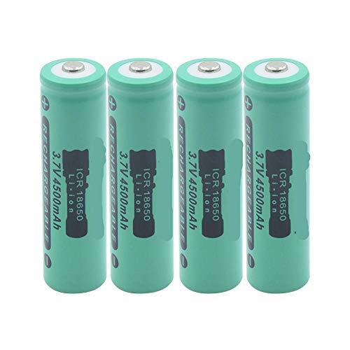 ndegdgswg 1 2 4 Piezas Nueva Batería De Litio Verde 4500mah 18650, Celda Recargable para Antorcha Equipo De Audio CáMara Juguete Banco De Energía 4pieces