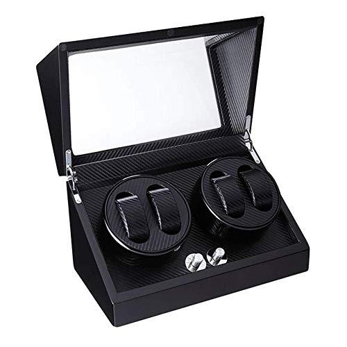 Enrollador de Reloj Caja de 4 Relojes Motor silencioso para Dama y Hombre Reloj automático Fibra de Carbono Acabado de Pintura de Piano Negro