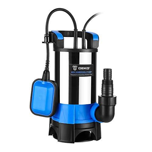 DEKO Bomba sumergible portátil de 400 W, bomba de agua limpia / sucia, piscina, jardín, bañera, estanque, drenaje de inundación con interruptor de flotador y cable largo de 10 m