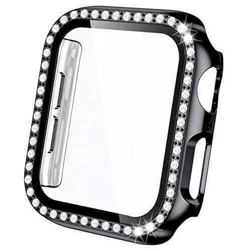 Cases for apple watch se 6 40mm 44mm case series 5 4 HD Tempered Glass Screen Protector + Shiny PC Bumper for iwatch 3 Bumper