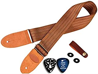 Cheerhas Guitar Strap with Suede Leather Ends for Electric Guitar, Acoustic Guitar and Bass, Includes 2 Safety Locks, 1 Leather-made Guitar Strap Button, Best for Guitar Players (Brown)