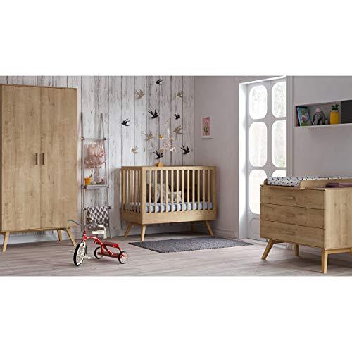 Chambre complète lit bébé 60x120 - commode à langer - armoire 2 portes Nautis - Bois