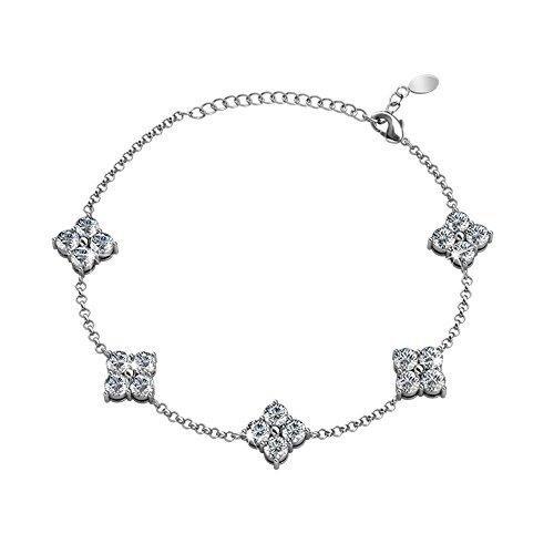 Cate & Chloe Adeline 18k White Gold Chain Bracelet with Swarovski Crystals Bracelet, Trendy Beautiful Sparkle Round Diamond Cut Crystal Cluster Bracelets for Women, Girls, Sparkling Silver
