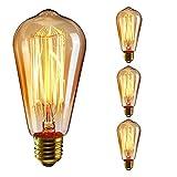 KINGSO 3pack E27 Glühbirne Vintage Edison 40W ST64 220V Glühlampe