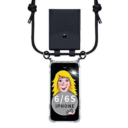 Funda para iPhone 6/6S – Funda para teléfono móvil con funda como tarjetero para monedas – Carcasa estable para colgar tu iPhone – Smartphone Necklace
