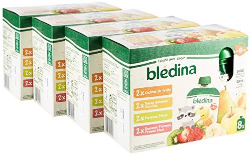 Blédina 32 Gourdes de purées de fruits bébé dès 8 mois, 4 recettes : Cocktail de Fruits / Poires Bananes Abricots / Bananes Pommes Fraises Kiwis - 32 x 90g