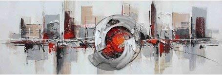 ETA-BL Tableau panoramique Abstrait Gris et Orange, Dimensions 60/120 cm, Tableau Peinture à l'huile sur Toile de Coton montée sur châssis en Bois. Tableau pour Toutes Les pièces et ambiances déco