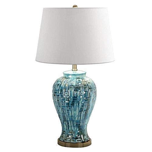 Light-Art Mid-Century Teal Keramik Tischlampe, Keramik stilvolle Eye-Care Desk Leselicht Geeignet für Entspannung Nachtlicht E27 * 1 [Energieklasse A ++]